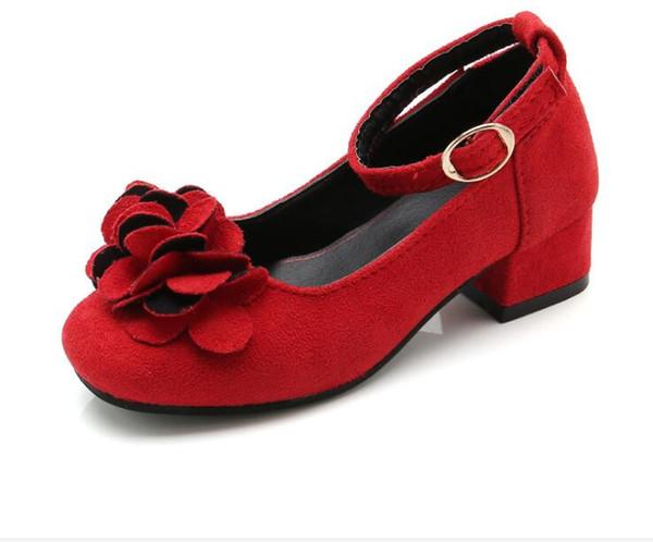 Enfants Chaussures Pour Filles À Talons Hauts Rouge Fleur Noire Enfants Princesse Mariage Étudiant Danse Chaussures Daim Cuir Filles