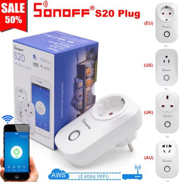 Sonoff S20 EU UK US AU Plug Wifi Power Socket Switch Wireless APP Remote Socket Outlet Timing Switch Smart Home for Alexa Google