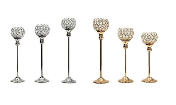 New Crystal Metal Candle Tealight Holders Stand Candlesticks Candelabrum for Wedding Party Table Centerpieces Candelabra Home Decoration