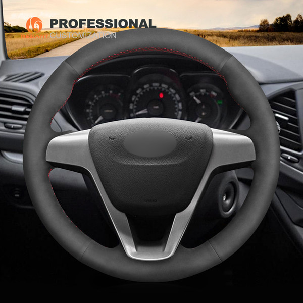 MEWANT Black Suede Hand Sew Stitching Comfortable Easy To Clean Car Steering Wheel Cover for Lada Vesta 2015-2017