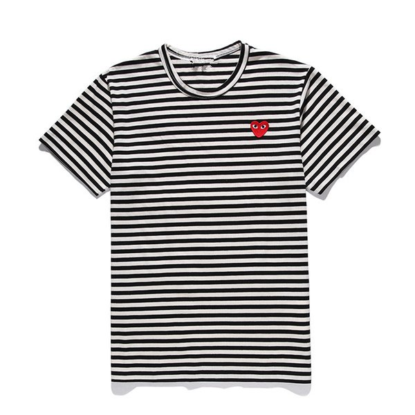 19ss Mens designers t shirt COMMES Japan Red Heart Des Garcons Off black White Striped shirts Short tee for summer clothing dolce