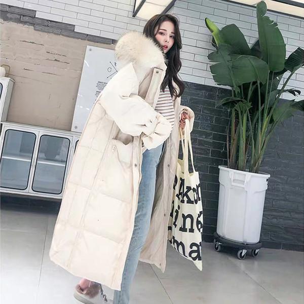 Aşağı Ceket Ladys Kapşonlu Kürk Yaka Ördek Kadınlar Yeni Beyaz Uzun Kalın Ceket Kadın Uzun Kollu Parka T191108 Isınma