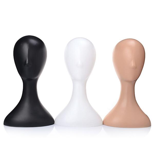 Maniquí de plástico para mujer Maniquí Cabeza Modelo Espuma Peluca Gafas Cabello Soporte de exhibición Blanco / Negro / Natural