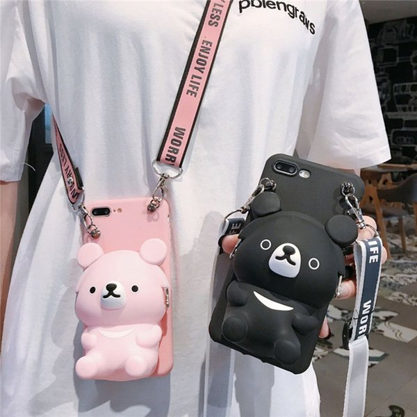 Applicable iPhone XS Max Mobile Shell iPhone 11/6sp XR Cute Bear Coin Wallet Phone Case Storage Bag Female