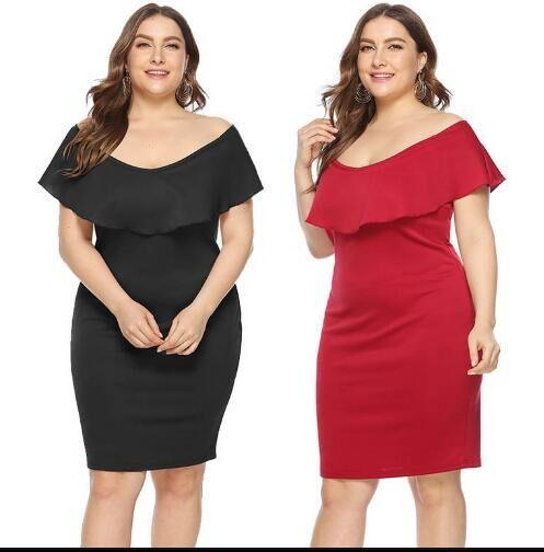 Hot Selling Plus Size Dress Off Collar Flounce Slimming Slim Dress Skirt  Women Casual Dresses Factory Wholesale Elegant Dress Cheap Dress From ...