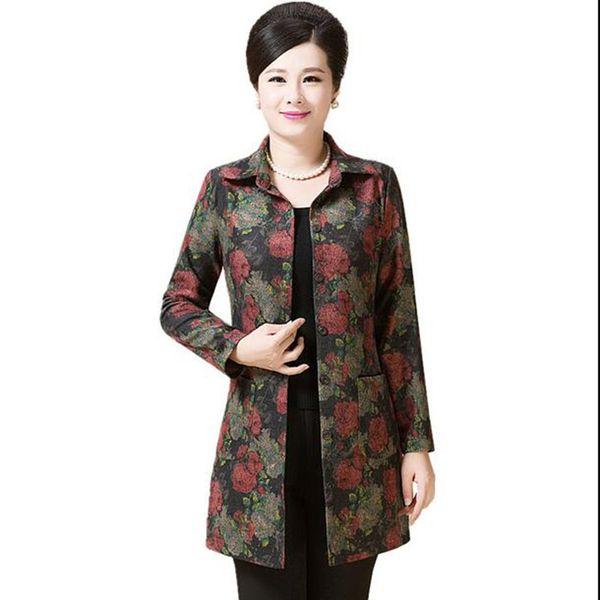 Middle aged Women Windbreaker Autumn New Fashion Windbreaker Mother Clothing Outerwear Print plus Size Loose Female Coat LU224