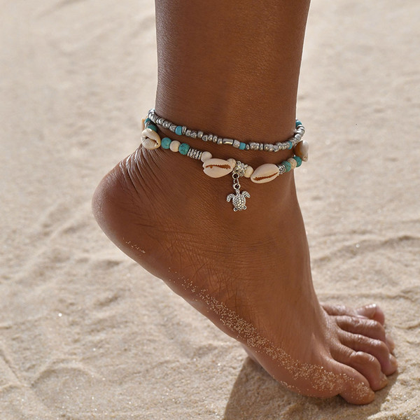 Originality Double-deck Anklet Conch Pendeloque Cut Tortoise Measly Yoga Sandy Beach Foot Ornament pearl earrings, piercing,Pandora charms,summer sundress women,shell jewelry,abalone shell jewelry,sea shell jewelry,shell jewelry set,shell jewelry diy,cowrie shell jewelry,conch shell jewelry,women shell jewelry sets