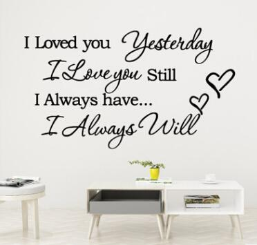 I Love You Yesterday Quote Wall Stickers Lettering Words Wall Decal Art Characters Vinyl Murals Home Living Room Decoration