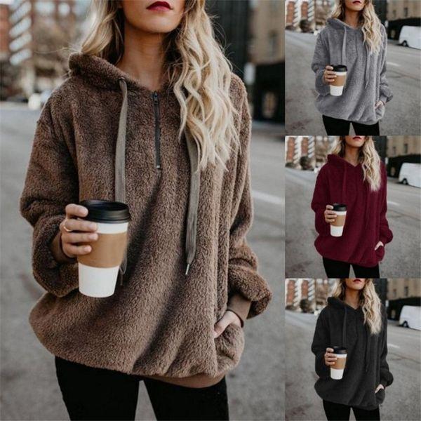 Модные новые фланелевые джемперы с капюшоном женский сплошной цвет плюс бархат теплые женские верхние пальто русские горячие 9 цветов пуловеры Mujer