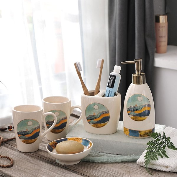 Nordic Creative Tooth Cup Suit Modern Ceramics Bathroom Accessories Toilet Set Toothbrush Holder Soap Box Suite
