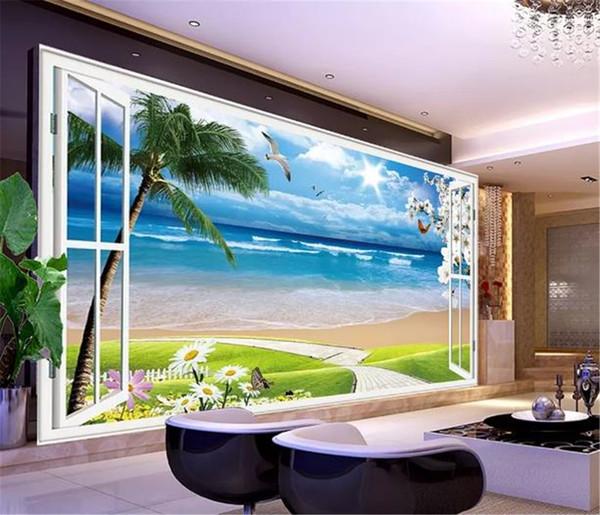 Papier peint mural 3D personnalisé 3D de la fenêtre, 3D naturel et clair belle vue sur la mer salon TV fond d'écran de mur lié
