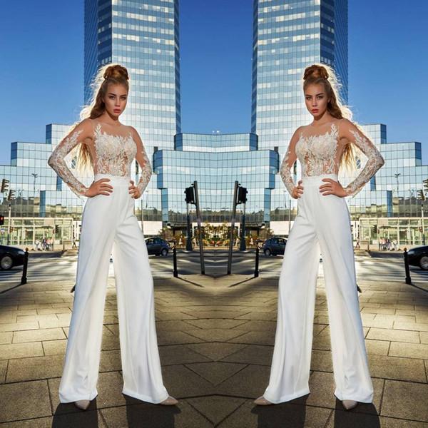 Illusion élégante manches longues robes de bal costumes costumes une ligne blanche pure bijou cou robes de soirée jumpsuit robes de célébrité
