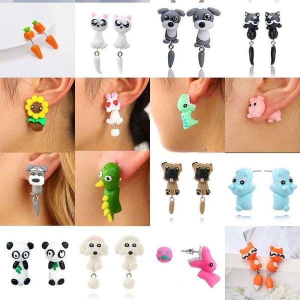 Cute 3D Animal Earrings Polymer Clay earrings Fox Dog Cat Crocodile Rabbit Ear Studs Dangle Fashion Jewelry Will and Sandy A0127