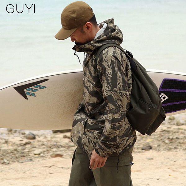 GUYI Green Camouflage Outdoor Jacken Herren Kapuze Kordelzug Taschen Pullover Fashion Casual Hip Hop Streetwear Mantel
