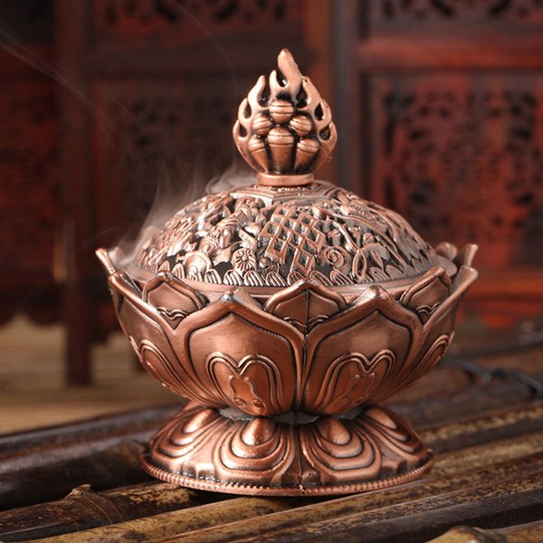 tibetan lotus Tibetan Lotus Alloy Bronze Mini Incense Burner Incensory Metal Craft Home Decor 7.8*7.2*6.0cm