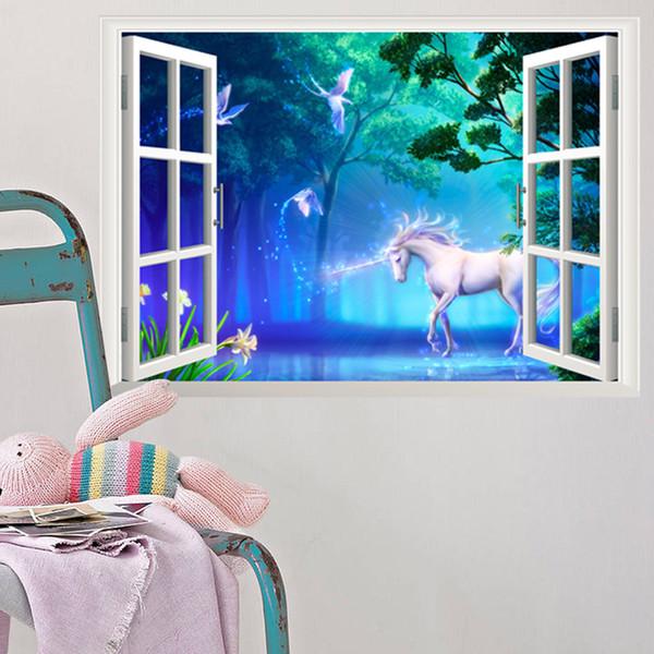 Bosque Animal Unicornio Etiqueta de La Pared Woods Tree Ventana Efecto Pegatinas de pared Calcomanía Para Bebé Niños Dormitorio Decoración Del Hogar