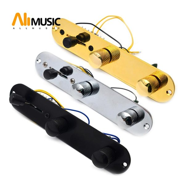 best selling Chrome Gold Black 3 Way Wired Loaded Prewired Control Plate Harness Switch Knobs for TL Tele Telecaster Guitar Parts