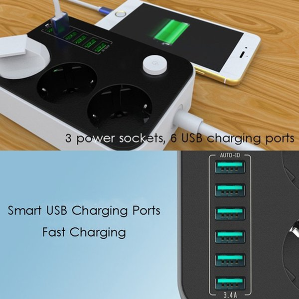 2500W 10A Surge Protection Universal Charger Household Socket 6 USB Ports Charging Ports Extension Cord Power Strips EU Plug