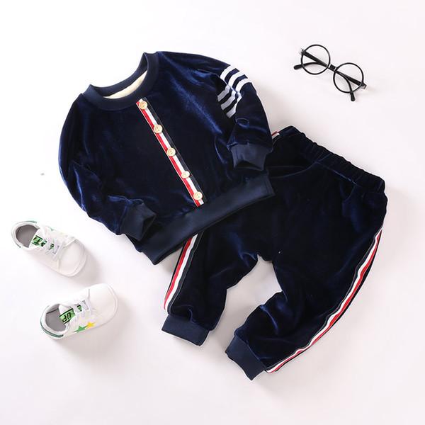 Conjuntos de roupas de bebê menino inverno quente esportes terno para meninas moda além de veludo tops quentes + calças 2 pcs crianças treino 1-4y