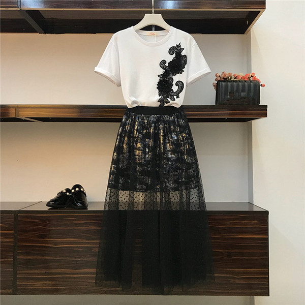 2019 Summer New D Flower Embroidery Beading T-shirt Top + Sequined Lace Mesh Patchwork Long Skirt Two piece Students Set