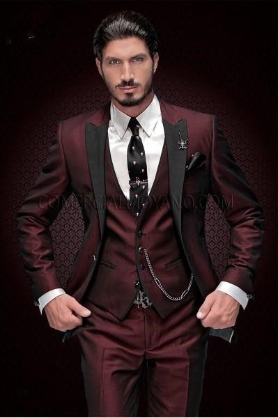 Handsome Groomsmen Peak Lapel Gux Smokings Un Bouton Hommes Costumes Mariage / Prom Meilleur Homme Blazer (Veste + Pantalon + Gilet + Cravate) 888