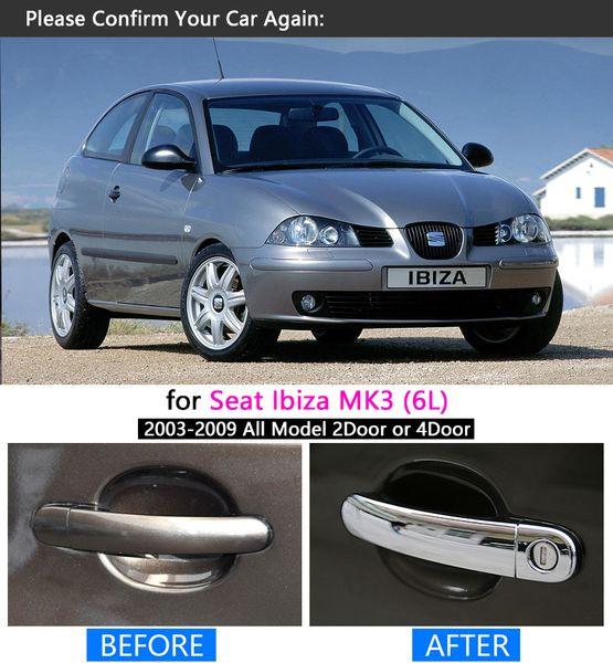 2008 Ibiza Compre Mk3 3 2006 Para 2007 Cromado 2005 2009 Accesorios Juego Fr Manija Seat 2003 Cubiertas De Pegatinas 6l 2004 Automóviles EHID29