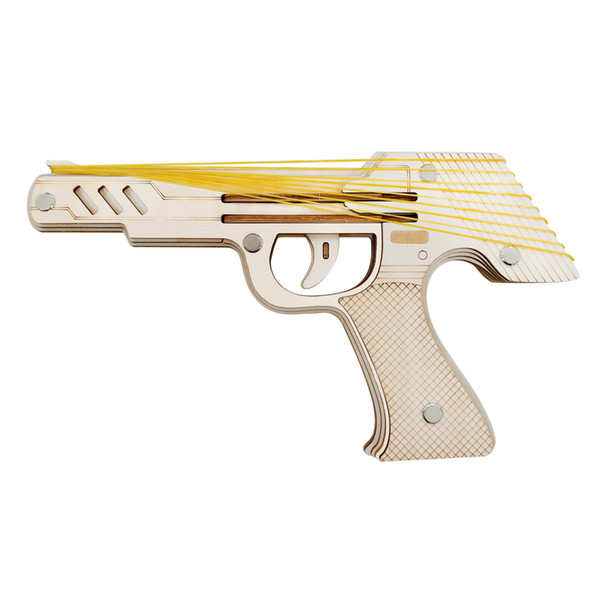 top popular Laser Cutting DIY 3D Wooden Puzzle Woodcraft Assembly Kit 9 Running Fire Rubber Band Gun For Child Gift ( with 50+ rubber bands) Y200413 2021