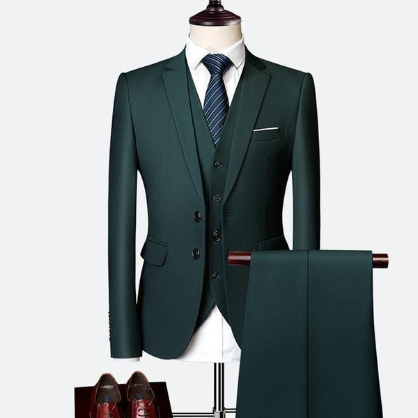 Classy Dark Green Wedding Tuxedos Groom Suits Custom Made Groomsmen Prom Party Suits (Jacket+Pants+Vest) Groom Father Suits Tailor Made