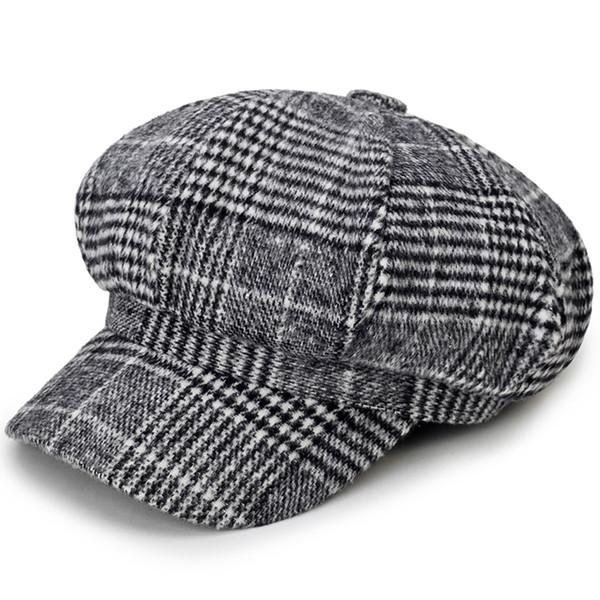 Outono Inverno quente Cap Octagonal Newsboy Hat Moda Estilo Britânico Unisex Xadrez Cap Beret Jornaleiro Boina Detetive Chapéus Chapeau