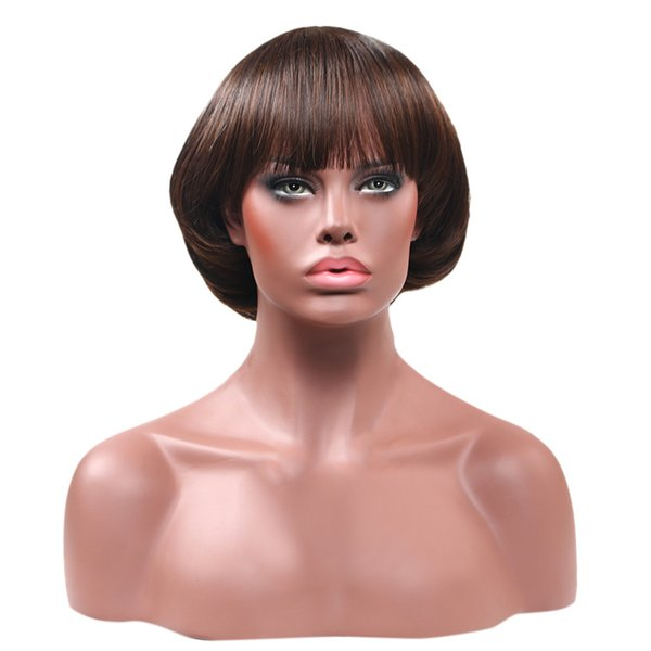 2018 hot sale Women's Fashion Synthetic Mushroom Head BOB Brown Black Hair Wig Natural Hair Wigs for hairstyles Daily life wig