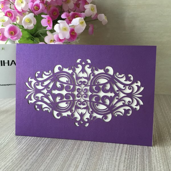 Purple Blue Royal Lilies Flower Hollow Out Pearl Paper Castle Wedding Invitation Birthday Party Dinner Marriage Annivery Holiday Mail Greeting Cards