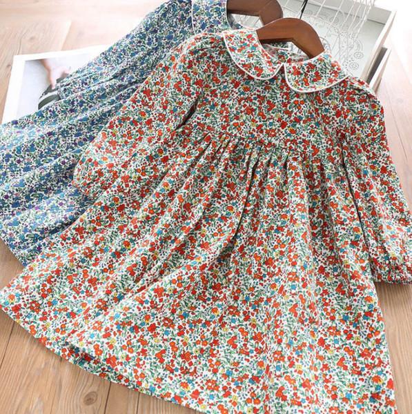 2019 Sonbahar yeni kız kırsal tarzı çocuklar tam çiçek baskılı prenses elbise çocuk yaka uzun kollu pileli elbise F8962 bebek elbiseleri