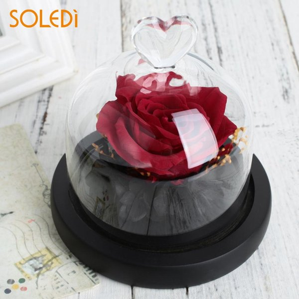 Eternal Flower Preserved Fresh Flower Glass Rose Glass Cover Home Decoration Valentine'S Day Romantic Red Roses New Year Gift