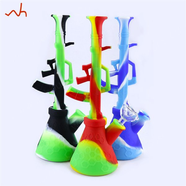 Unbreakable Water Bong Smoking Oil Rigs Silicone Tobacco Pipes Cool Design Ak47 Silicone Bongs Glass Water Pipes