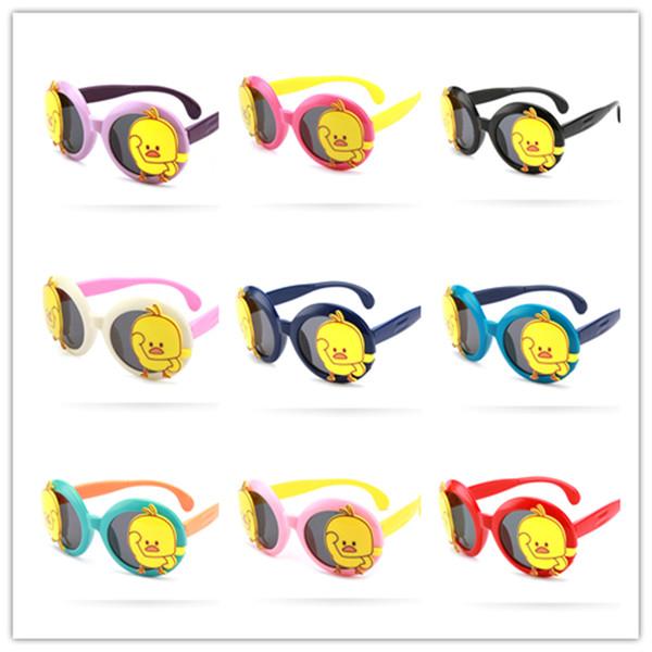 Kinder Sonnenbrillen Klapp Flip Cartoon Kleine Gelbe Ente Polarisierte Sonnenbrille Anti-UV Brille Sonnenbrille Für Jungen Mädchen 3-12 T