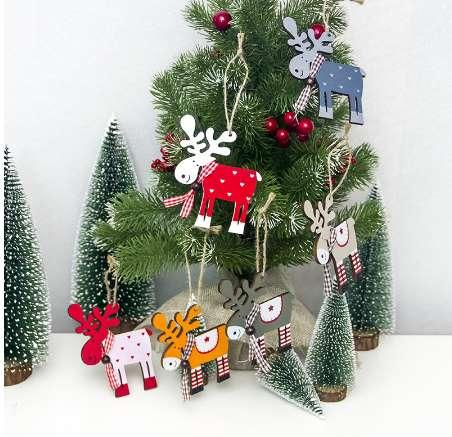 Mexican Christmas Decorations.Cute Wooden Elk Christmas Tree Decorations Hanging Pendant Deer Craft Ornament Christmas Decorations For Home New Year 2019 Mexican Christmas