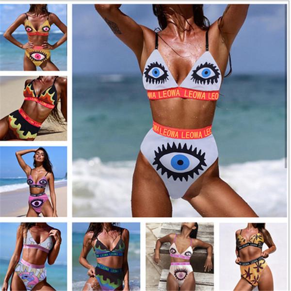 Ensemble de maillot de bain LEOWA Eyes Print Soutien-gorge + Hispster Maillot de bain 2 pièces pour femme Maillots de bain Flamme Unicron Letters Maillots de bain 2019 vêtements de plage B3112