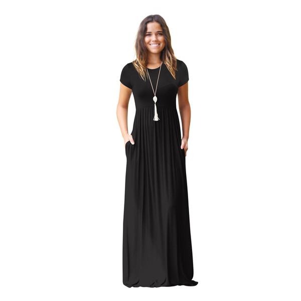 Mode Femmes Pochette D'été Longueur De Plancher Robe Femmes Robes de soirée Décontracté À manches courtes O Cou Solide Maxi Dress Femme