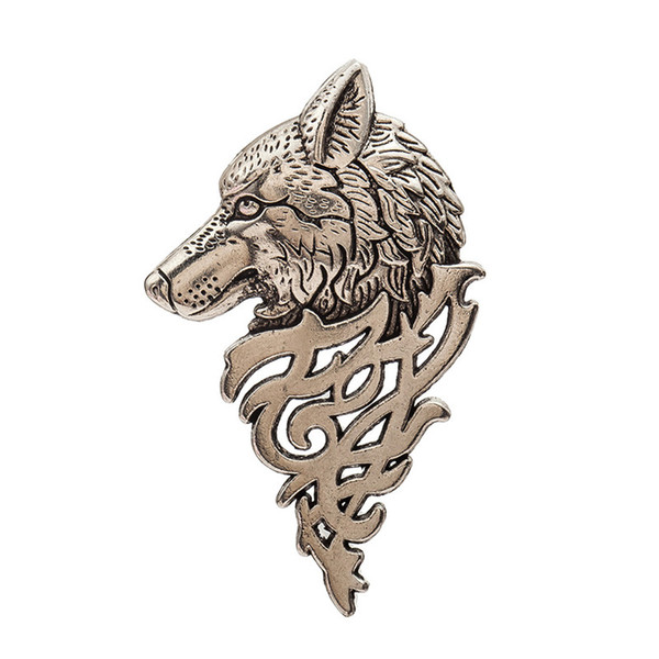 Wolf Brooches Fashion Men's Clothes Decorations Jewelry Alloy Animal Pins Badge Black Silver Charm Brooches for Men wholesale