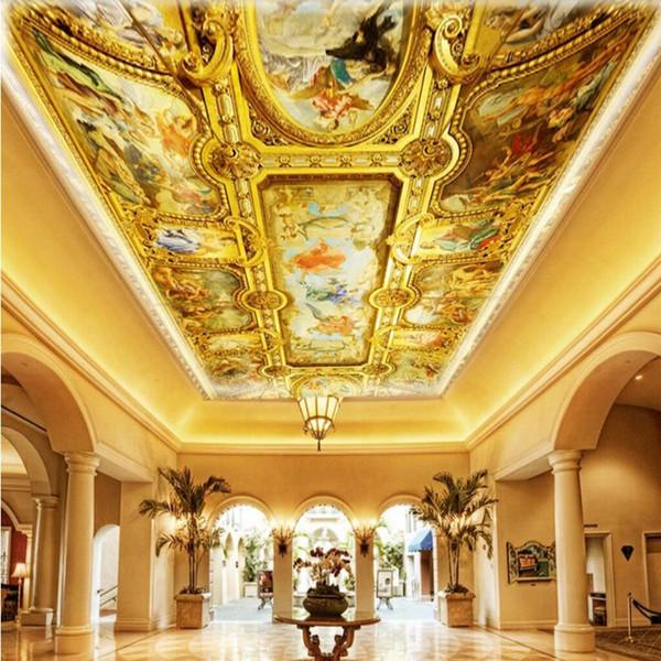 Acheter Arkadi Custom 3d Mur Papier Peint Papier Peint Style Européen Hall D Entrée Salon Luxe Plafond Murale Art Peinture Murale Papel Pintado Pared