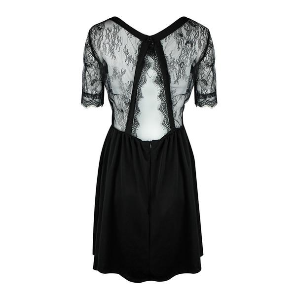 Sexy frauen spitze splice dress kurzarm backless zurück ausschnitt sommer dress oansatz zip party club mini kleider schwarz vestidos