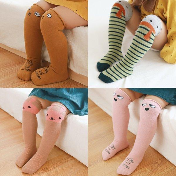 3Pairs / Lot Cotton bonito do joelho Criança Meias dos desenhos animados Bebés Meninas Socks pé quente Kid roupa da criança unisex Bota 2019