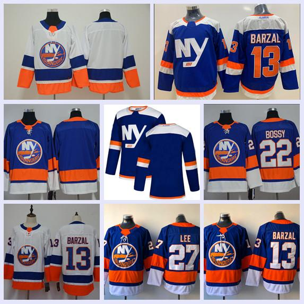 NHL Nova Iorque Islanders Jersey 13 Mathew Barzal 2019 Terceira Terceira Alternativa 27 Anders Lee 22 Mike Bossy Camisolas De Hóquei Azul Branco Alta Quanlity