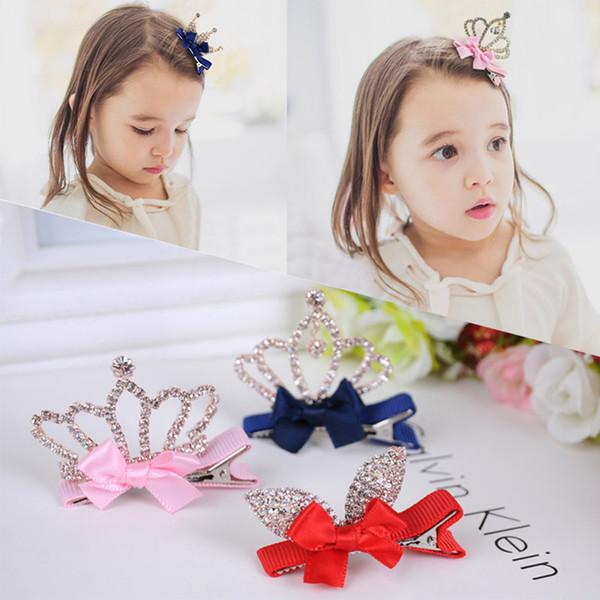 Europeus e americanos populares versão coreana moda crianças cabelo decoração de cristal bebê estéreo coronal hairpin borboleta nó headwear