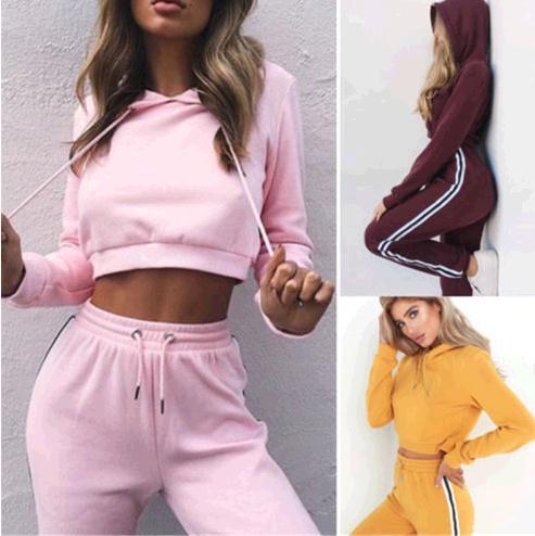 Women Fitness Yoga Sport Suits Autumn Shirt Set 2 Piece Female Long Sleeve Pants Outdoor Hooded Sportswear Women Running Clothes
