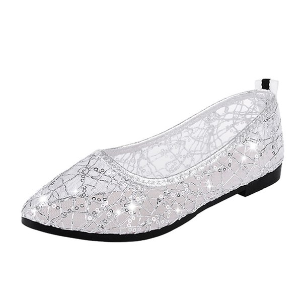 Designer Dress Shoes Crystal Flats Ballet Floral Rhinestone Women Spring Autumn Flower Pointed Toe Golden Loafers Sapato Feminino