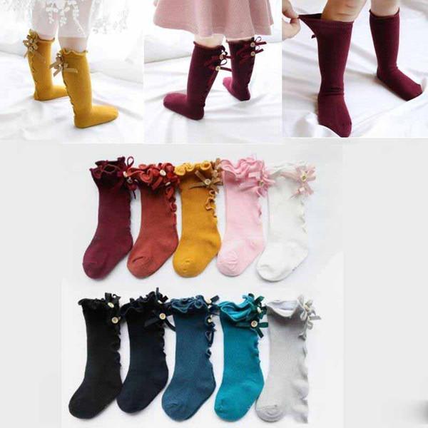 Bebek Kız Diz Çorap Bebek Kız Dantel Yaylar Prenses Bacak Isıtıcıları Çorap Toddler Pamuk Uzun Tüp Sevimli Stocking