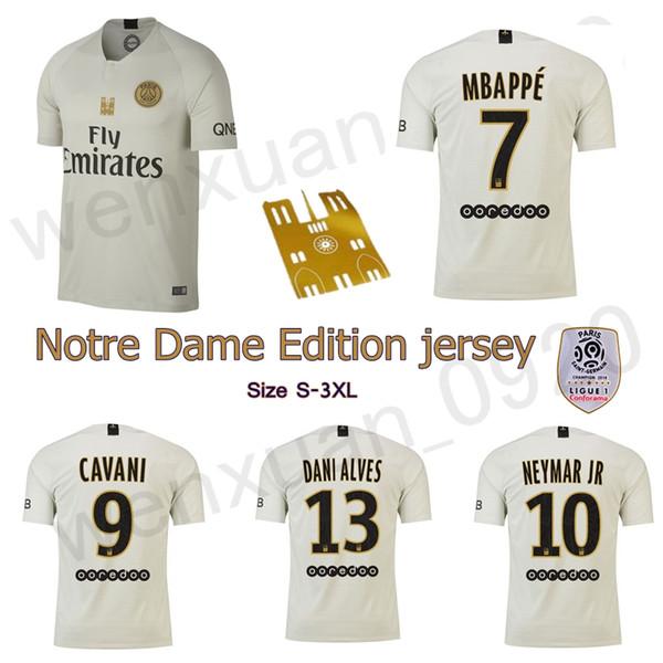 best sneakers 49dec b9b2d 2019 2019 PSG Notre Dame Edition Soccer Jersey Paris MBAPPE CAVANI VERRATTI  Saint Germain Jersey DANI ALVES Away Football Shirt From Wenxuan_0920, ...