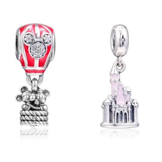 2019 Summer Pink Castle Charm DIY Loose Beads For Jewelry Making 925 Sterling Silver Jewelry Fits for pandora Original Bracelets & Bangle