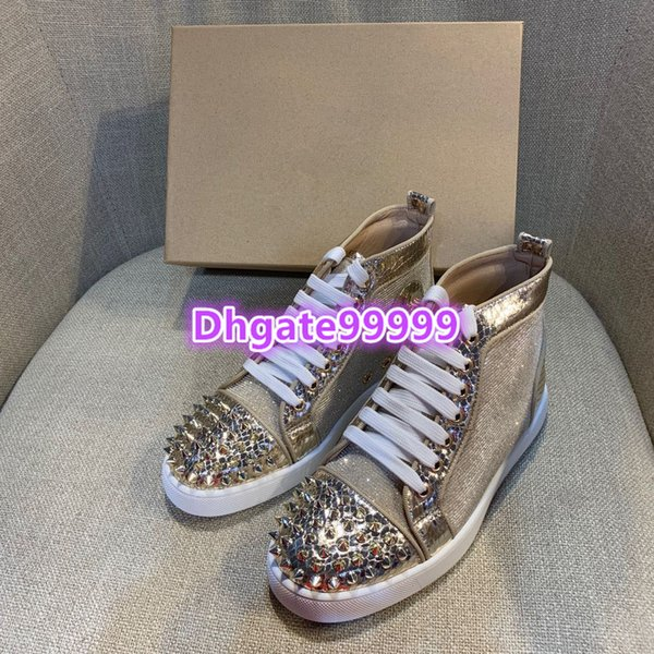 women men flat shoes sneakers glitter Python snakeskin with metal studs rivet unisex skate shoes lace-up skateboard shoes round toe loafers